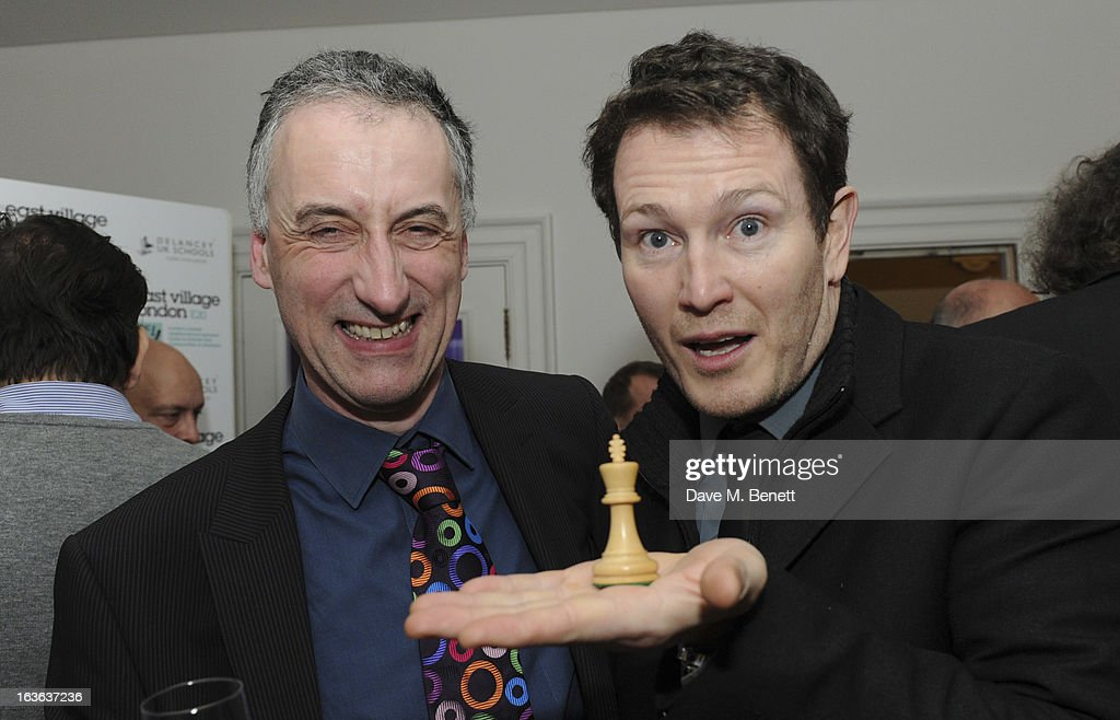 Malcolm Pein, the CEO of the charity Chess in Schools, and Nick Moran attend the launch of the 'Urban Chess' Funding Initiative from East Village at Mortons on March 13, 2013 in London England.
