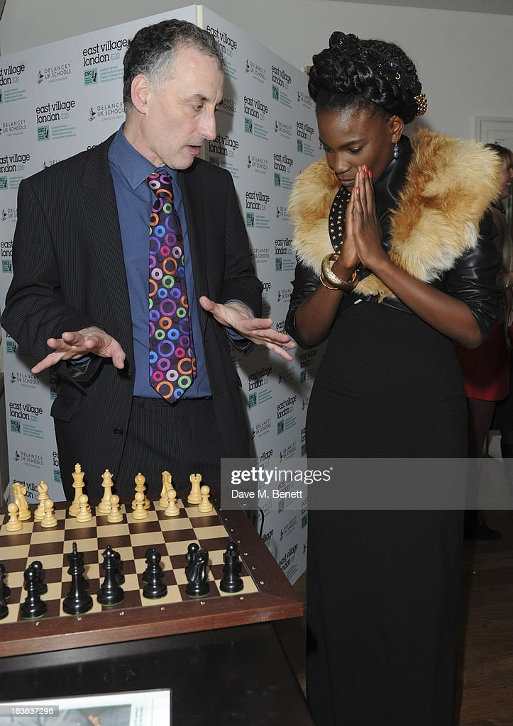 Malcolm Pein, the CEO of the charity Chess in Schools, and Shingai Shoniwa attends the launch of the 'Urban Chess' Funding Initiative from East Village at Mortons on March 13, 2013 in London England.