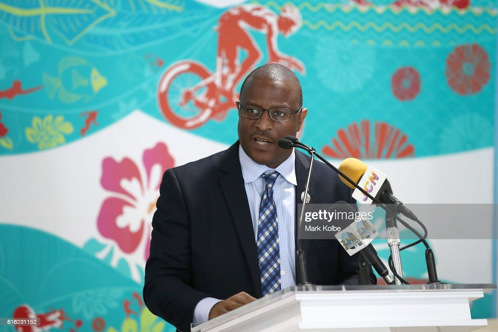 Malcolm Pintard, Minister of Youth, Sports and Culture, Bahamas Government speaks to the media during the 2017 Commonwealth Youth Games Opening Press Conference held at the Thomas A Robinson Stadium on July 17, 2017 in Nassau, Bahamas.