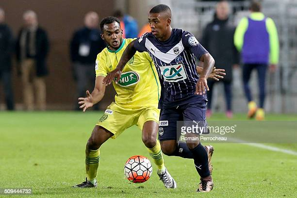 Malcolm Silva De Oliveira for FC Girondins de Bordeaux in action during the French Cup match between FC Girondins de Bordeaux and FC Nantes at Stade...