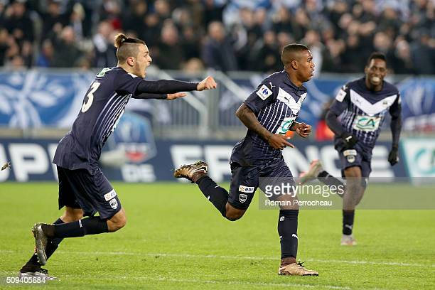 Malcolm Silva De Oliveira for FC Girondins de Bordeaux reacts after his goal during the French Cup match between FC Girondins de Bordeaux and FC...