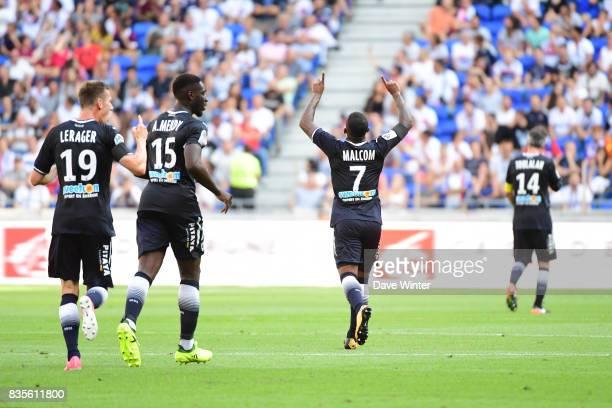 Malcolm Silva de Oliveira of Bordeaux celebrates his first goal during the Ligue 1 match between Olympique Lyonnais and FC Girondins de Bordeaux at...