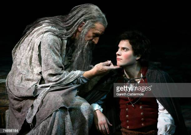 Malcolm Storry and James Loye from Lord Of The Rings the musical perform on stage at the Theatre Royal on June 18 2007 in London England