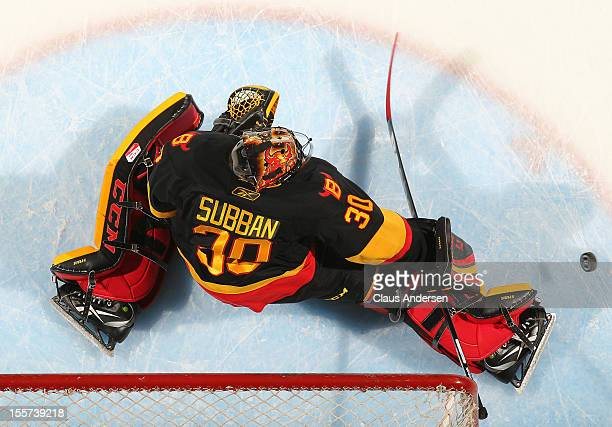 Malcolm Subban of the Belleville Bulls stops a shot in the warmup prior to an OHL game against the London Knights on November 2 2012 at the Budweiser...