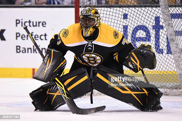 Malcolm Subban of the Boston Bruins in the net for warm ups before the game against the Toronto Maple Leafs at the TD Garden on February 2 2016 in...