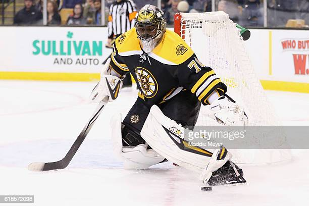 Malcolm Subban of the Boston Bruins makes a save against Minnesota Wild during the second period at TD Garden on October 25 2016 in Boston...