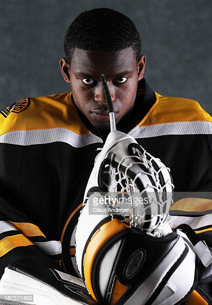 Malcolm Subban of the Boston Bruins poses for an NHLPA The Players Collection portrait at the Mastercard Centre on August 27 2013 in Toronto Ontario...