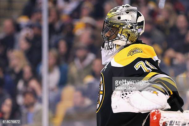 Malcolm Subban of the Boston Bruins reacts after allowing a goal against Minnesota Wild during the second period at TD Garden on October 25 2016 in...