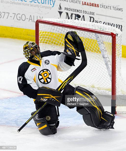 Malcolm Subban of the Providence Bruins makes a save before an American Hockey League game against the Portland Pirates at the Dunkin' Donuts Center...