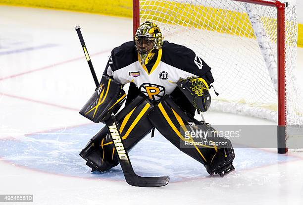 Malcolm Subban of the Providence Bruins warms up before an American Hockey League game against the Springfield Falcons at the Dunkin' Donuts Center...