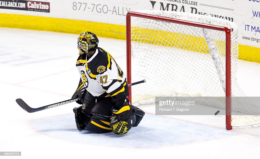 Malcolm Subban #47 of the Providence Bruins watches a puck shot by Craig Cunningham #14 of the Springfield Falcons (not pictured) end up in the net during an American Hockey League game at the Dunkin' Donuts Center on November 1, 2015 in Providence, Rhode Island. The Falcons won 5-2.