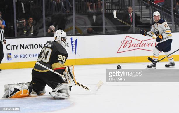 Malcolm Subban of the Vegas Golden Knights blocks a shot buy Jack Eichel of the Buffalo Sabres in the third period of their game at TMobile Arena on...