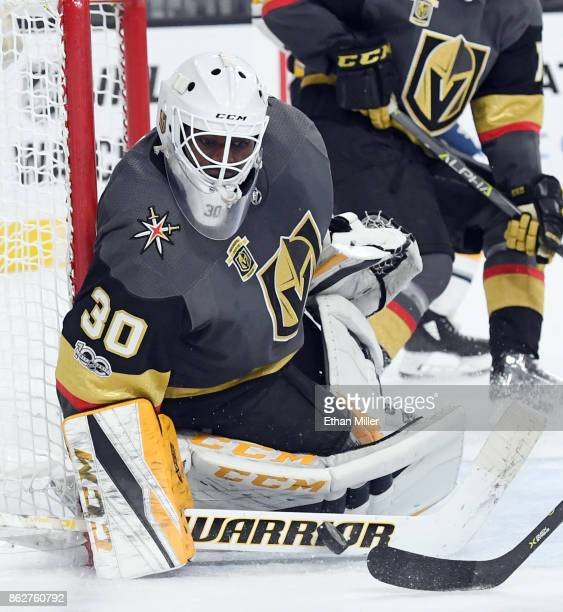 Malcolm Subban of the Vegas Golden Knights blocks a shot by Evander Kane of the Buffalo Sabres in the third period of their game at TMobile Arena on...
