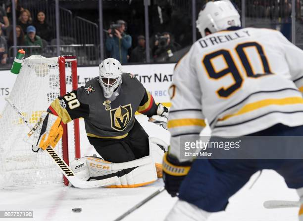 Malcolm Subban of the Vegas Golden Knights blocks a shot by Ryan O'Reilly of the Buffalo Sabres in the first period of their game at TMobile Arena on...