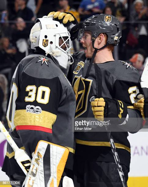 Malcolm Subban of the Vegas Golden Knights is congratulated by Cody Eakin after the team's 31 win over the Boston Bruins at TMobile Arena on October...