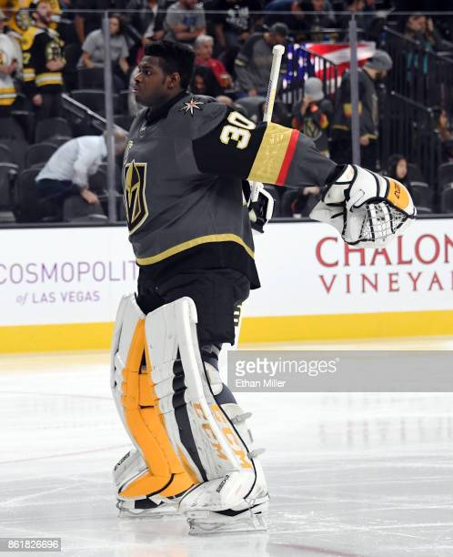Malcolm Subban of the Vegas Golden Knights skates during warmups before the team's game against the Boston Bruins at TMobile Arena on October 15 2017...