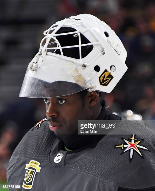 Malcolm Subban of the Vegas Golden Knights skates on the ice during a break in the third period of a game against the Boston Bruins at TMobile Arena...