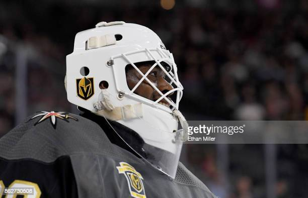 Malcolm Subban of the Vegas Golden Knights smiles during a break in the first period of a game against the Buffalo Sabres at TMobile Arena on October...