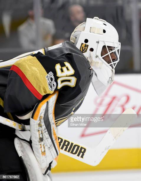 Malcolm Subban of the Vegas Golden Knights stands in the crease during a break in the first period of a game against the Boston Bruins at TMobile...