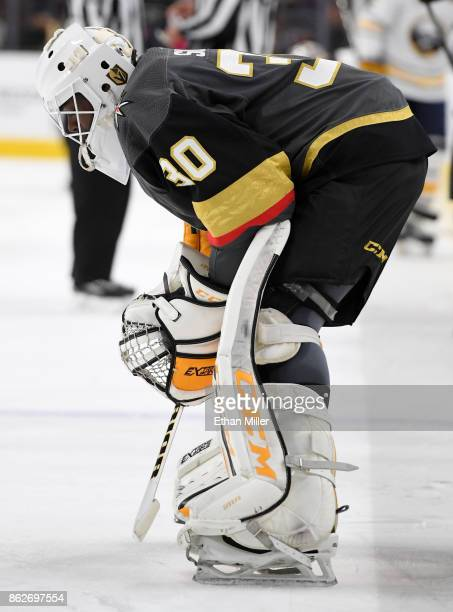 Malcolm Subban of the Vegas Golden Knights stands on the ice during a break in the first period of a game against the Buffalo Sabres at TMobile Arena...