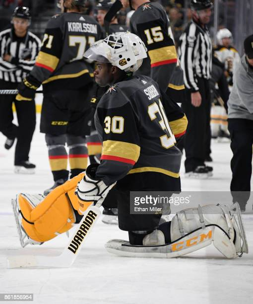 Malcolm Subban of the Vegas Golden Knights stretches during a break in the third period of a game against the Boston Bruins at TMobile Arena on...