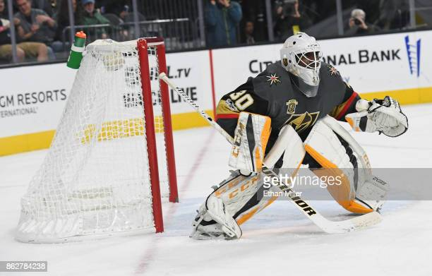 Malcolm Subban of the Vegas Golden Knights tends net against the Buffalo Sabres in the third period of their game at TMobile Arena on October 17 2017...