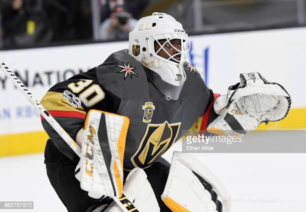 Malcolm Subban of the Vegas Golden Knights tends net in the first period of a game against the Buffalo Sabres at TMobile Arena on October 17 2017 in...
