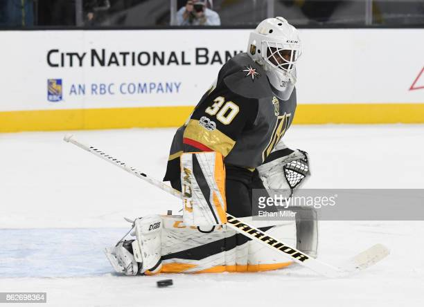 Malcolm Subban of the Vegas Golden Knights tracks the puck in the first period of a game against the Buffalo Sabres at TMobile Arena on October 17...