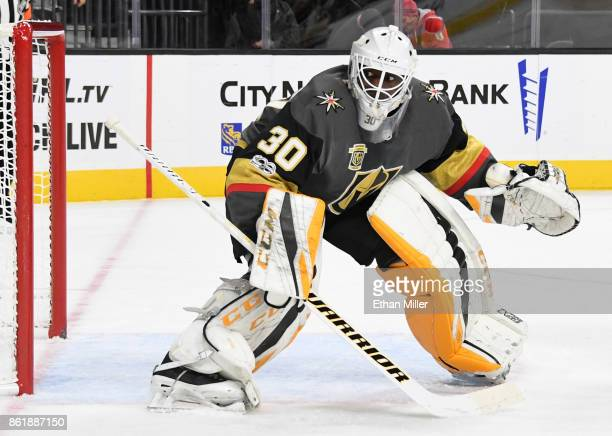 Malcolm Subban of the Vegas Golden Knights warms up before the team's game against the Boston Bruins at TMobile Arena on October 15 2017 in Las Vegas...