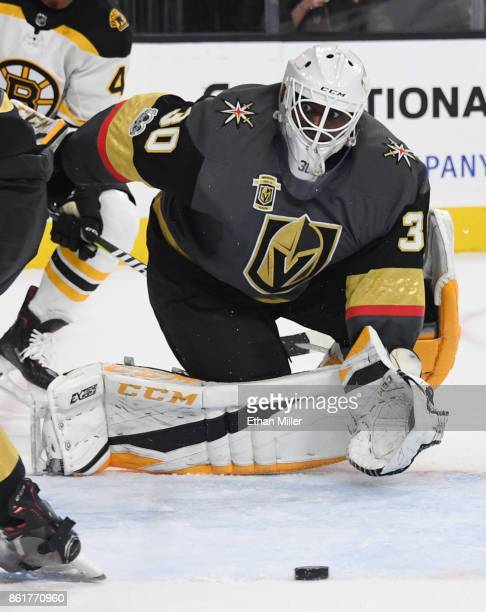 Malcolm Subban of the Vegas Golden Knights watches the puck sail by the net in the third period of a game against the Boston Bruins at TMobile Arena...