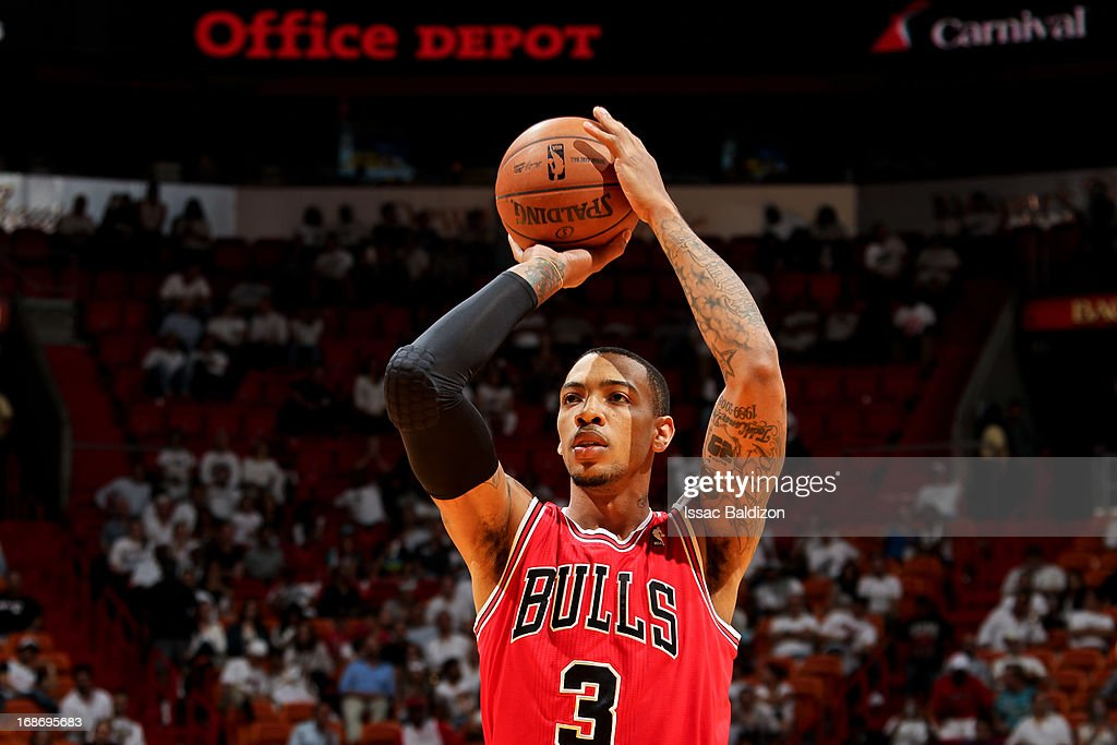 Malcolm Thomas #3 of the Chicago Bulls shoots a free-throw against the Miami Heat in Game Two of the Eastern Conference Semifinals during the 2013 NBA Playoffs on May 8, 2013 at American Airlines Arena in Miami, Florida.