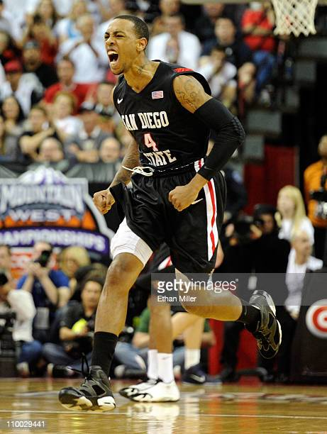 Malcolm Thomas of the San Diego State Aztecs reacts during the championship game of the Conoco Mountain West Conference Basketball tournament against...