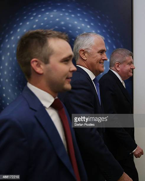 Malcolm Turnbull and supporters arrive at the Liberal party room for the leadership ballot at Parliament House on September 14 2015 in Canberra...