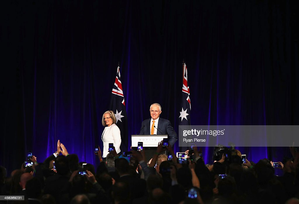 Malcolm Turnbull and wife Lucy Turnbull greet Liberal party supporters at Sofitel Wentworth on July 2, 2016 in Sydney, Australia. With results too close to call after a marathon eight-week campaign, no outright winner was able to be announced.