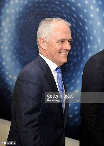Malcolm Turnbull Australia's former minister for communications arrives at the Liberal party room at Parliament House for a leadership ballot in...