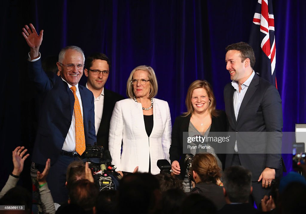 Malcolm Turnbull greets Liberal party supporters with wife Lucy Turnbull , son Alex Turnbull, daughter Daisy Turnbull Brown her husband James Brown at Sofitel Wentworth on July 2, 2016 in Sydney, Australia. With results too close to call after a marathon eight-week campaign, no outright winner was able to be announced.