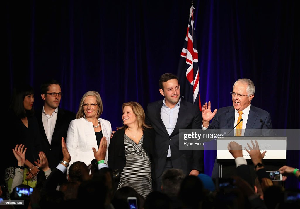 Malcolm Turnbull greets Liberal party supporters with wife Lucy Turnbull , son Alex Turnbull, his wife Yvonne Wang, daughter Daisy Turnbull Brown her husband James Brown at Sofitel Wentworth on July 2, 2016 in Sydney, Australia. With results too close to call after a marathon eight-week campaign, no outright winner was able to be announced.