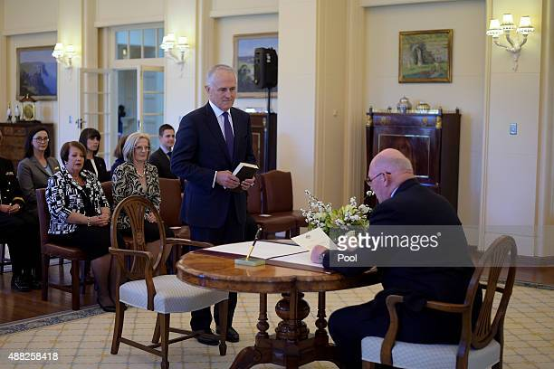 Malcolm Turnbull is sworn in by Australia's GovernorGeneral Sir Peter Cosgrove as Australia's 29th Prime Minister at Government House on September 15...