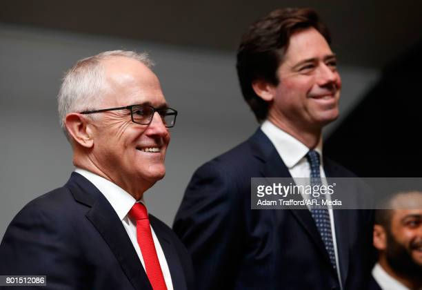 Malcolm Turnbull Prime Minister of Australia and Gillon McLachlan Chief Executive Officer of the AFL look on during the Bachar Houli Programs 2017...