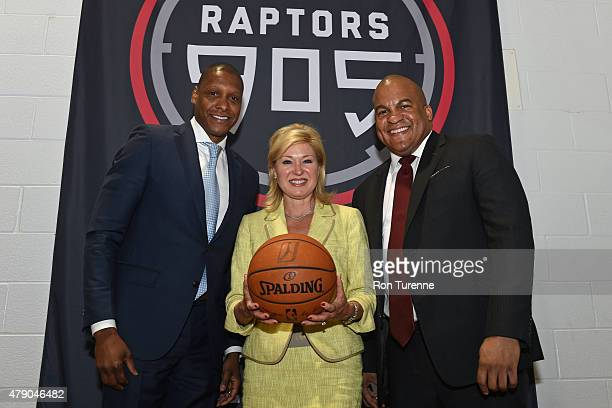 Malcolm Turner the NBA Development League President and Masai Ujiri the General Manager of the Toronto Raptors pose for a photo at a press conference...