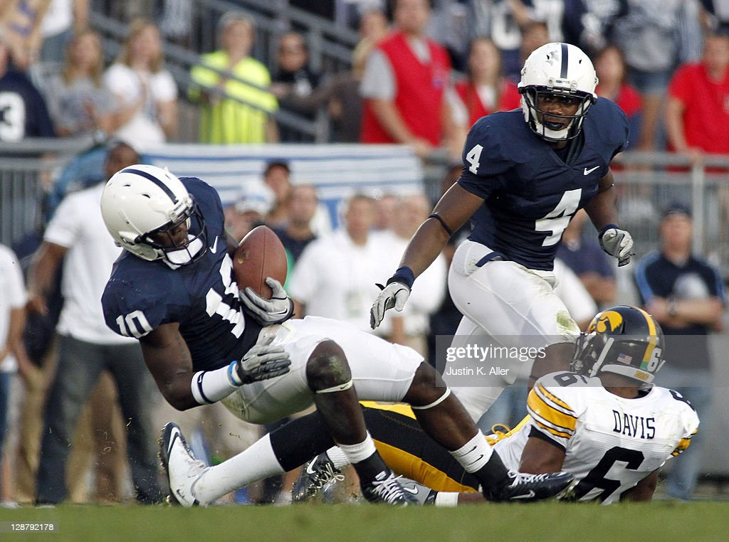 Malcolm Willis #10 of the Penn State Nittany Lions intercepts a pass in the forth quarter against the Iowa Hawkeyes during the game on October 8, 2011 at Beaver Stadium in State College, Pennsylvania. The Nittany Lions defeated the Hawkeyes 13-3.