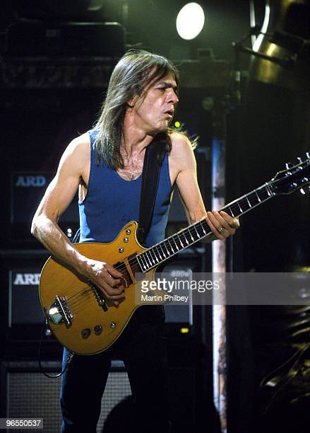 Malcolm Young of AC/DC performs on stage in Melbourne Park on 12th Feb 2001 in Melbourne Australia