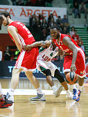Malcom Delaney #0 of Lokomotiv Kuban Krasnodar competes with James White #4 of Cedevita Zagreb during the Turkish Airlines Euroleague Basketball Top...