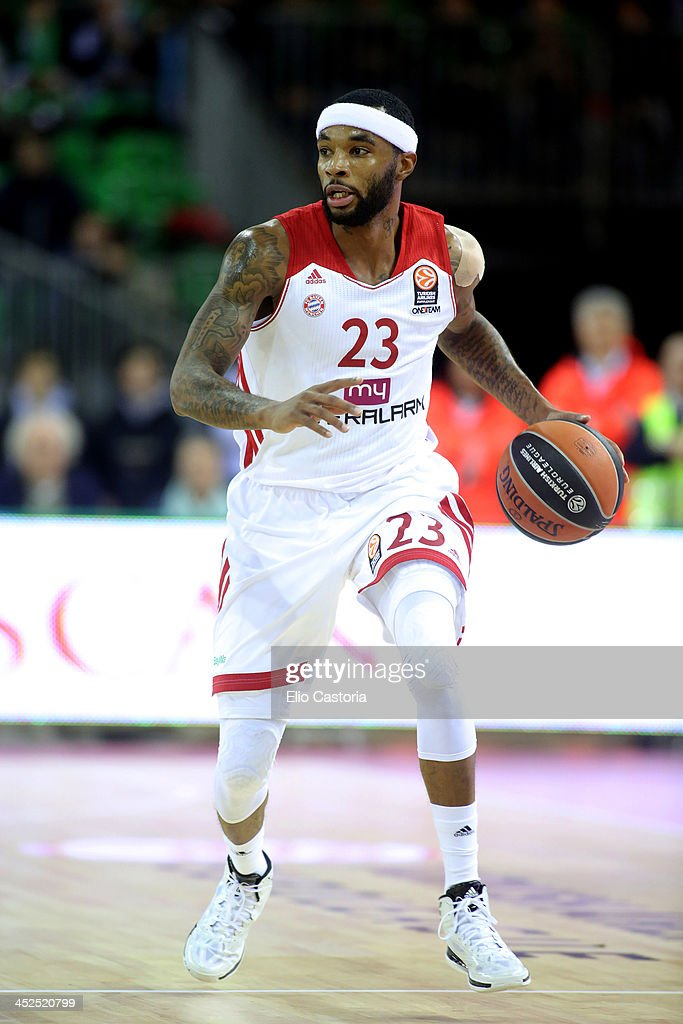 Malcom Delaney, #23 of FC Bayern Munich in action during the 2013-2014 Turkish Airlines Euroleague Regular Season Date 7 game between Montepaschi Siena v FC Bayern Munich at Nelson Mandela Forum on November 29, 2013 in Florence, Italy.