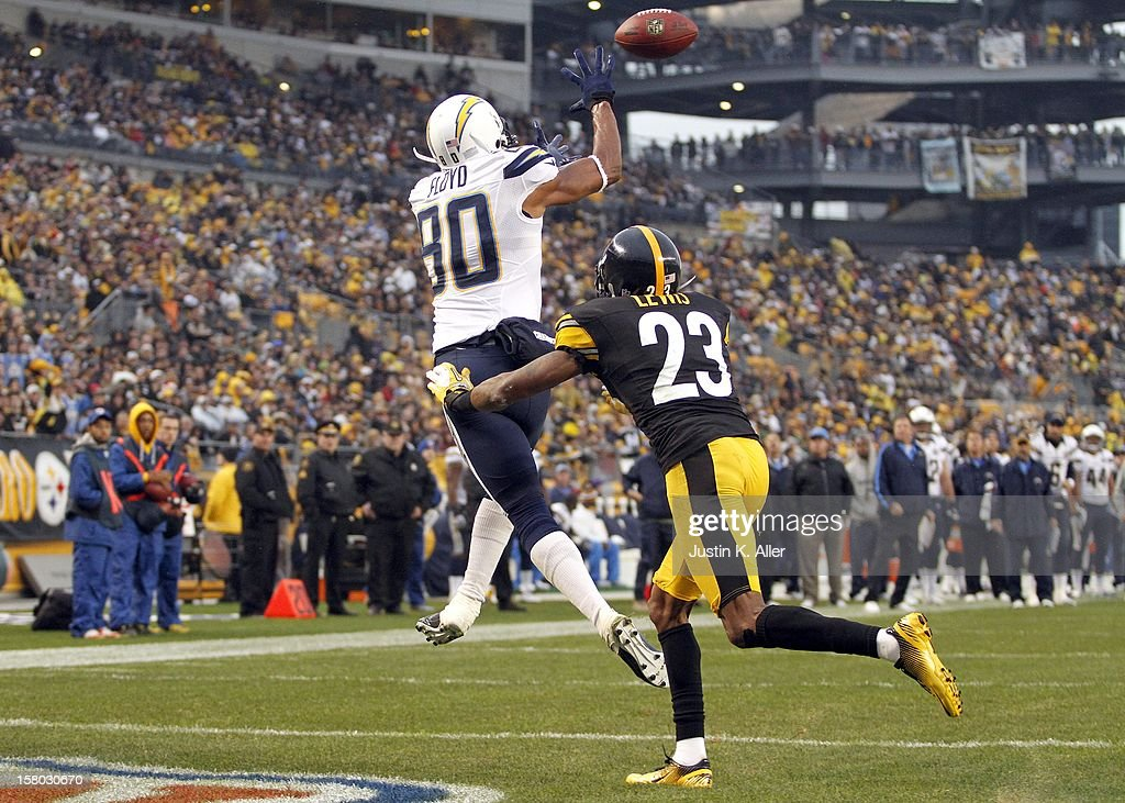Malcom Floyd #80 of the San Diego Chargers catches a 3 yard touchdown pass in the third quarter against the Pittsburgh Steelers during the game on December 9, 2012 at Heinz Field in Pittsburgh, Pennsylvania. The Chargers defeated the Steelers 34-24.