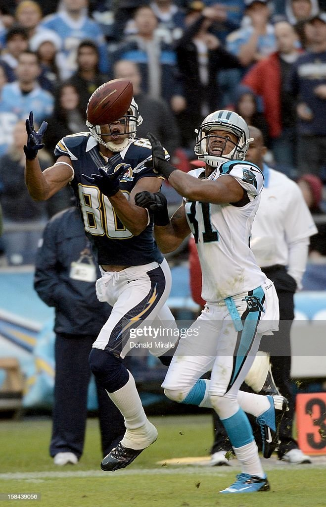 <a gi-track='captionPersonalityLinkClicked' href=/galleries/search?phrase=Malcom+Floyd&family=editorial&specificpeople=583121 ng-click='$event.stopPropagation()'>Malcom Floyd</a> #80 of the San Diego Chargers catches a pass and scores a touchdown against James Dockery #31 the Carolina Panthers on December 16, 2012 at Qualcomm Stadium in San Diego, California.
