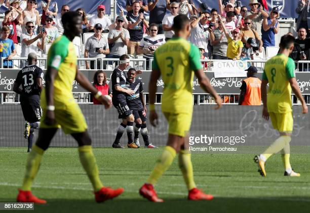 Malcom of Bordeaux reacts after his goal during the Ligue 1 match between FC Girondins de Bordeaux and FC Nantes at Stade Matmut Atlantique on...