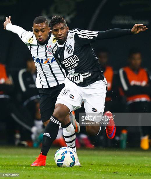 Malcom of Corinthians and Rodinei of Ponte Preta in action during the match between Corinthians and Ponte Preta for the Brazilian Series A 2015 at...