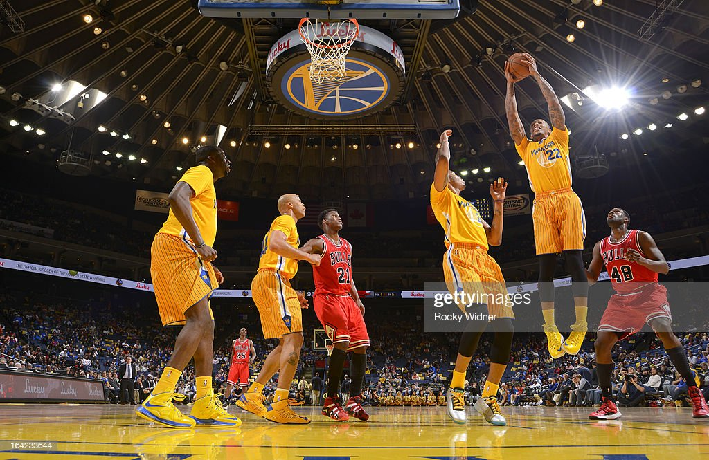 Malcom Thomas #22 of the Golden State Warriors rebounds against the Chicago Bulls on March 15, 2013 at Oracle Arena in Oakland, California.