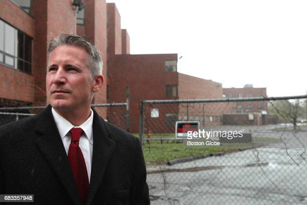 Malden City Councilor John Matheson stands outside the site of the Malden Hospital in Malden MA which closed 17 years ago on Apr 26 2017 The city of...